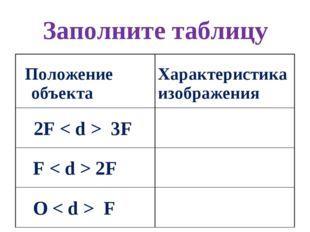 Заполните таблицу Положение объекта Характеристика изображения 2F < d > 3F