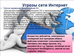 Угрозы сети Интернет Угроза заражения вредоносным ПО. Для распространения вре