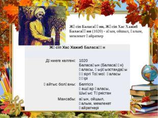 Жүсіп Баласағұни, Жүсіп Хас Хажиб Баласағұни (1020) - ақын, ойшыл, ғалым, ме