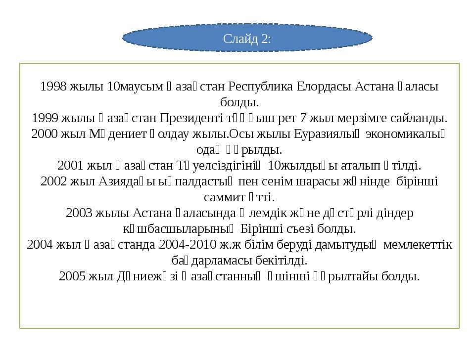 Слайд 2: 1998 жылы 10маусым Қазақстан Республика Елордасы Астана қаласы болды...
