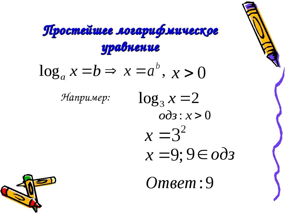 Простейшее логарифмическое уравнение Например: