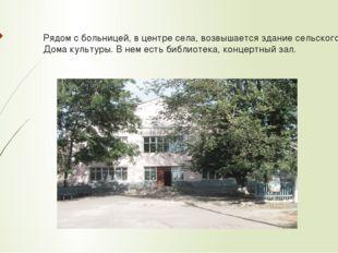 Рядом с больницей, в центре села, возвышается здание сельского Дома культуры.