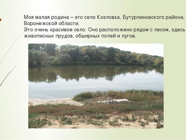 Моя малая родина – это село Козловка, Бутурлиновского района, Воронежской обл...