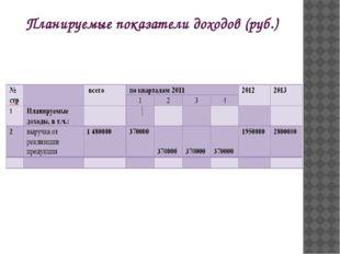 Планируемые показатели доходов (руб.)