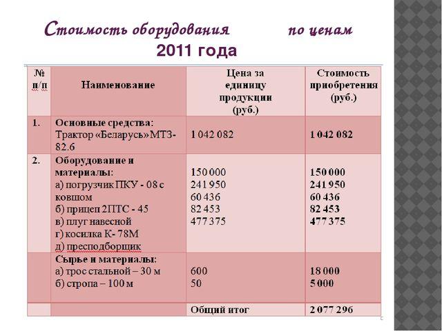 Стоимость оборудования по ценам 2011 года