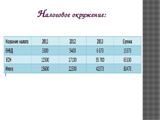 Налоговое окружение: