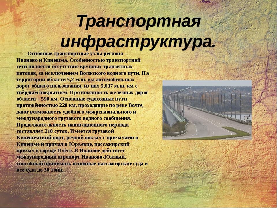 Транспортная инфраструктура. Основные транспортные узлы региона – Иваново и К...