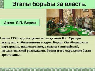 В июне 1953 года на одном из заседаний Н.С.Хрущев выступил с обвинениями в ад