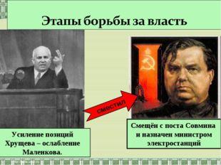 Усиление позиций Хрущева – ослабление Маленкова. Смещён с поста Совмина и наз