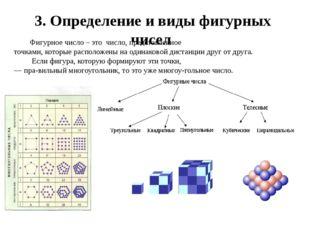 3. Определение и виды фигурных чисел Фигурное число – это число, представленн