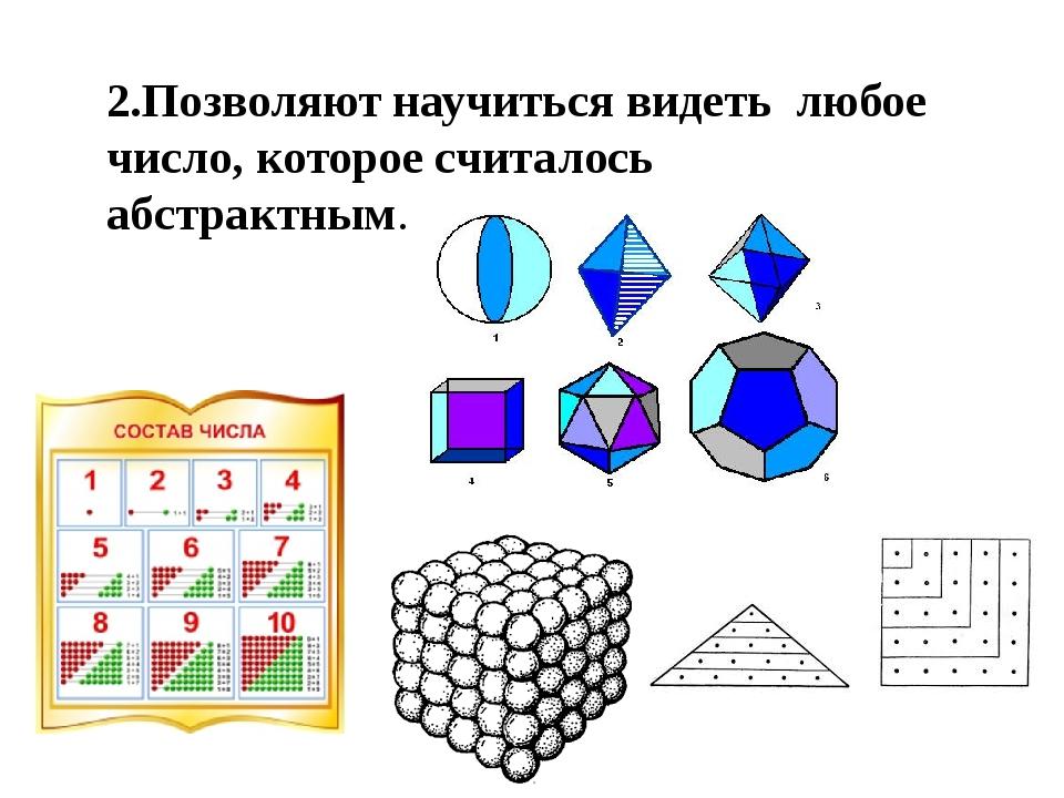 2.Позволяют научиться видеть любое число, которое считалось абстрактным.