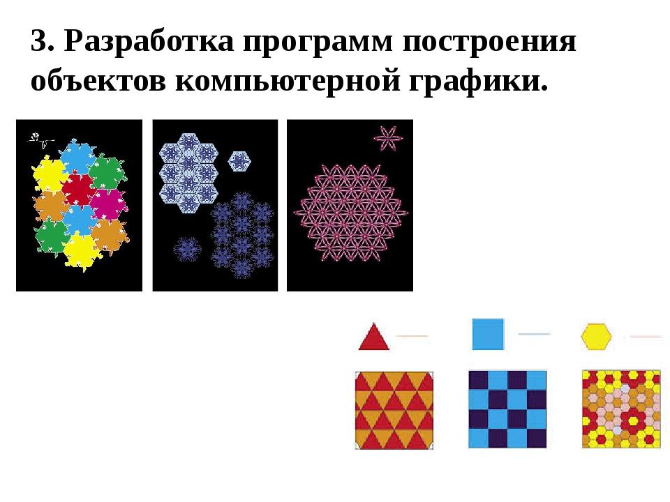 3. Разработка программ построения объектов компьютерной графики.