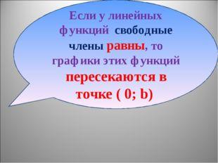 Если у линейных функций свободные члены равны, то графики этих функций пересе