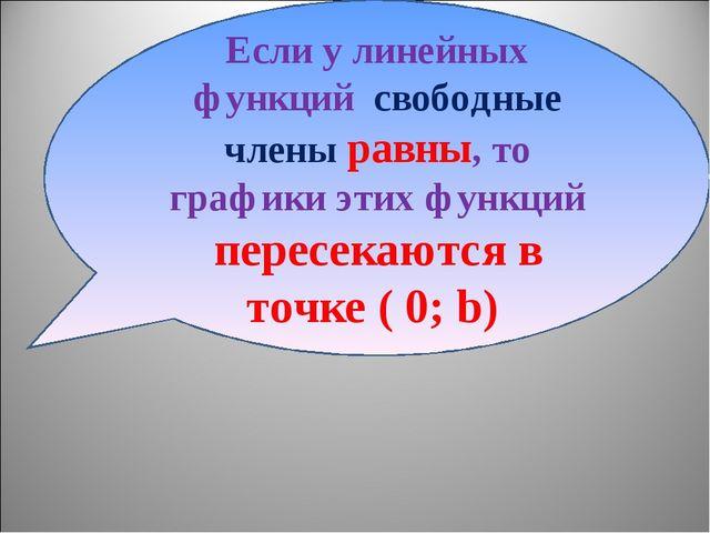 Если у линейных функций свободные члены равны, то графики этих функций пересе...