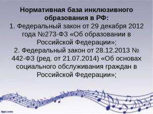 Нормативная база инклюзивного образования в РФ: 1. Федеральный закон от 29 де