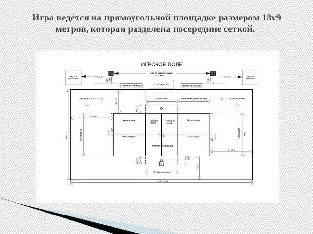 Игра ведётся на прямоугольной площадке размером 18х9 метров, которая разделен...