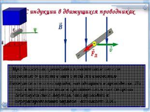 ЭДС индукции в движущихся проводниках При движении проводника в магнитном пол