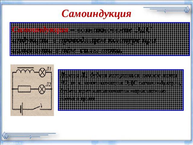 Самоиндукция * Самоиндукция – возникновение ЭДС индукции в проводящем контуре...