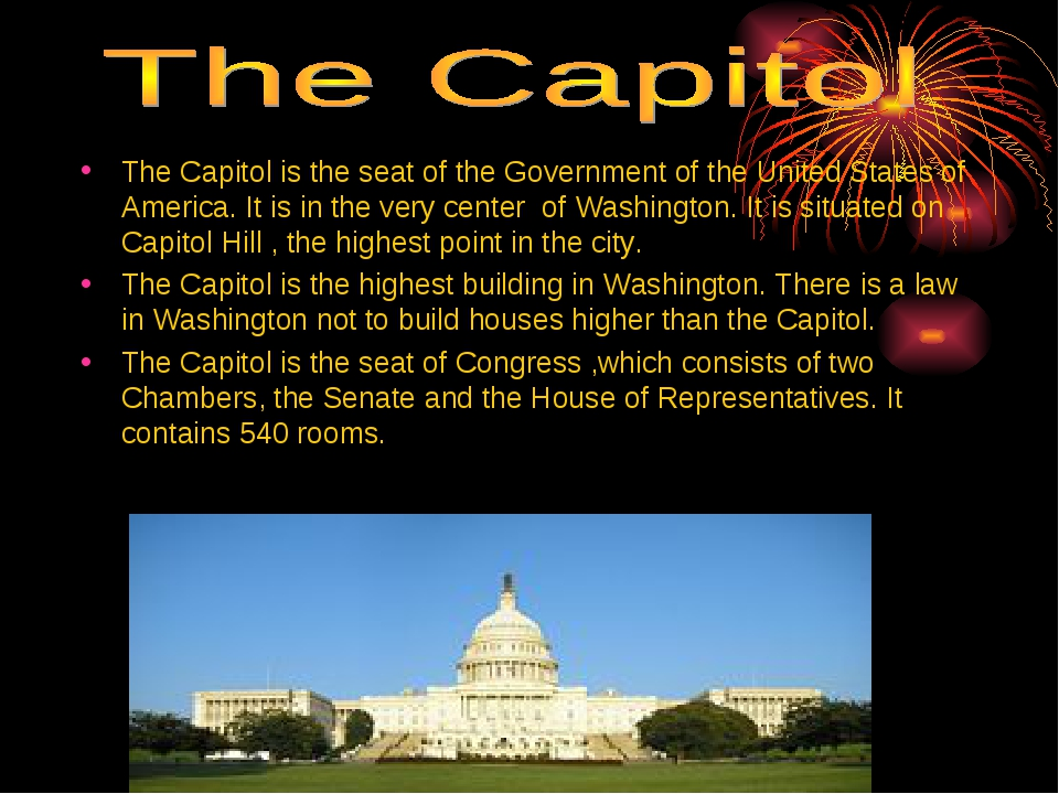 The Capitol is the seat of the Government of the United States of America. It...