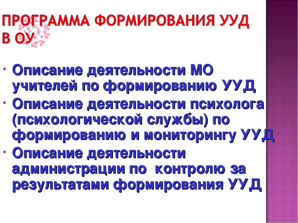 Описание деятельности МО учителей по формированию УУД Описание деятельности п...