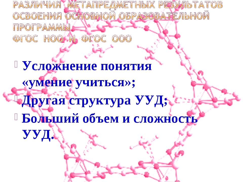 Усложнение понятия «умение учиться»; Другая структура УУД; Больший объем и с...