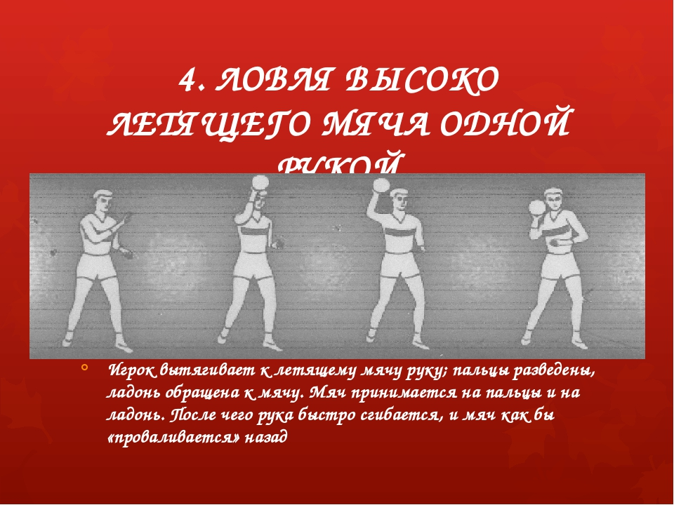 4. ЛОВЛЯ ВЫСОКО ЛЕТЯЩЕГО МЯЧА ОДНОЙ РУКОЙ Игрок вытягивает к летящему мячу ру...