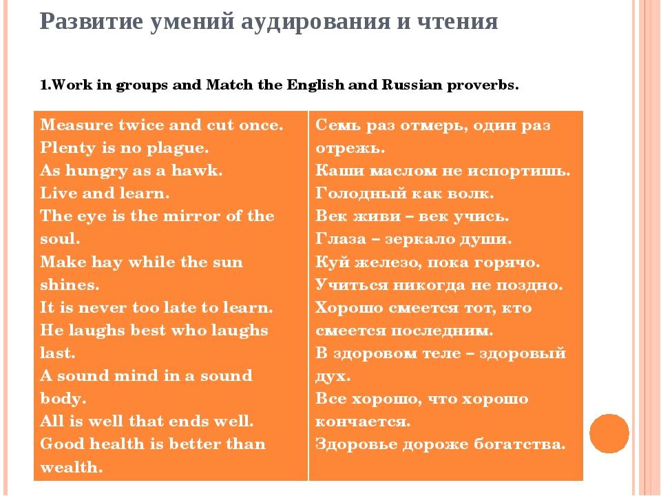Развитие умений аудирования и чтения 1.Work in groups and Match the English a...