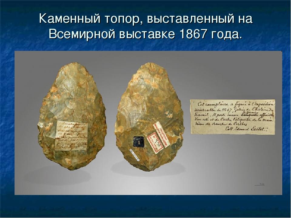 Каменный топор, выставленный на Всемирной выставке 1867 года.
