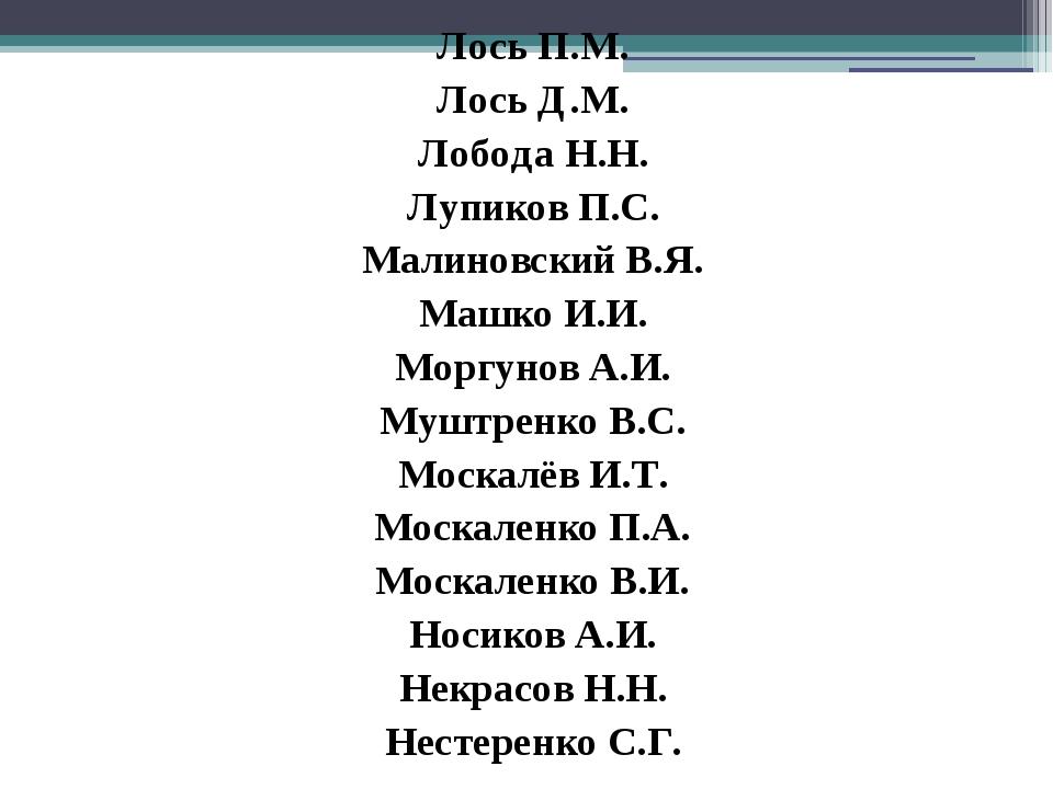 Лось П.М. Лось Д.М. Лобода Н.Н. Лупиков П.С. Малиновский В.Я. Машко И.И. Мор...