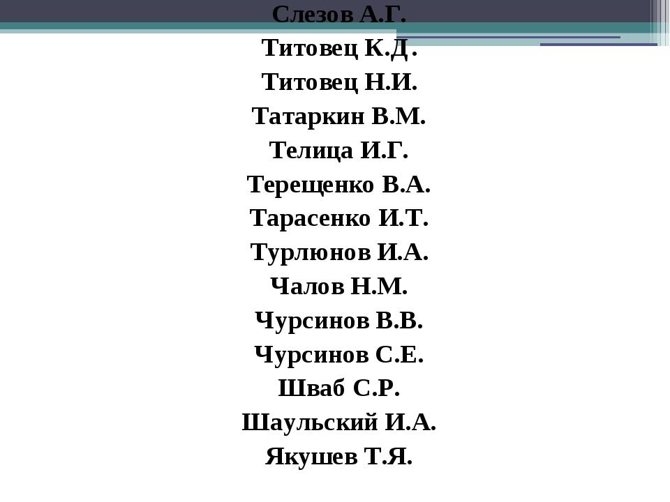 Слезов А.Г. Титовец К.Д. Титовец Н.И. Татаркин В.М. Телица И.Г. Терещенко В....