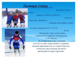 Лыжные гонки Существует четыре вида индивидуальных гонок: спринт( от 800 до 1