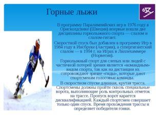 Горные лыжи В программу Паралимпийских игр в 1976 году в Орнсколдсвике (Швец