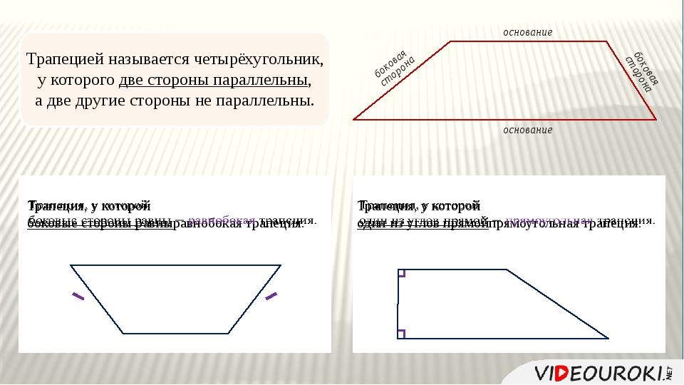 Трапецией называется четырёхугольник, у которого две стороны параллельны, а...