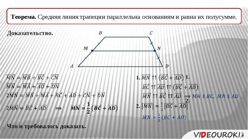 Теорема. Средняя линия трапеции параллельна основаниям и равна их полусумме....