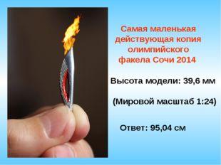 Самая маленькая действующая копия олимпийского факела Сочи 2014 Высота модели