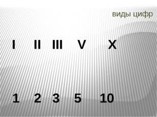 виды цифр I II III V X 1 2 3 5 10