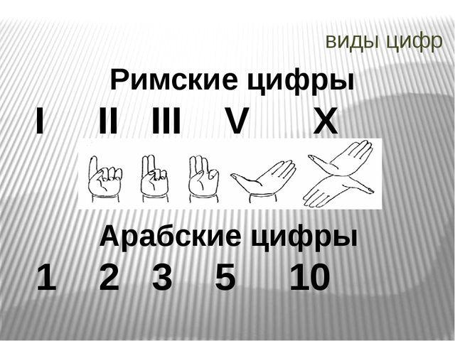 виды цифр Римские цифры I II III V X Арабские цифры 1 2 3 5 10