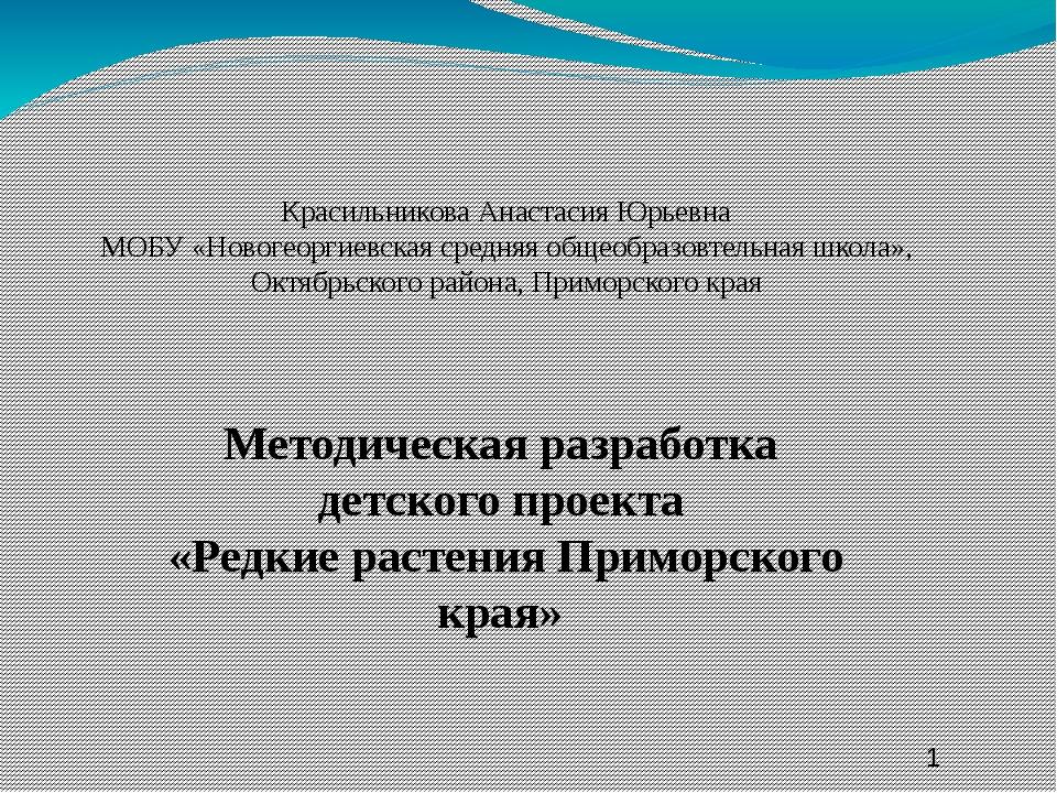Красильникова Анастасия Юрьевна МОБУ «Новогеоргиевская средняя общеобразовте...
