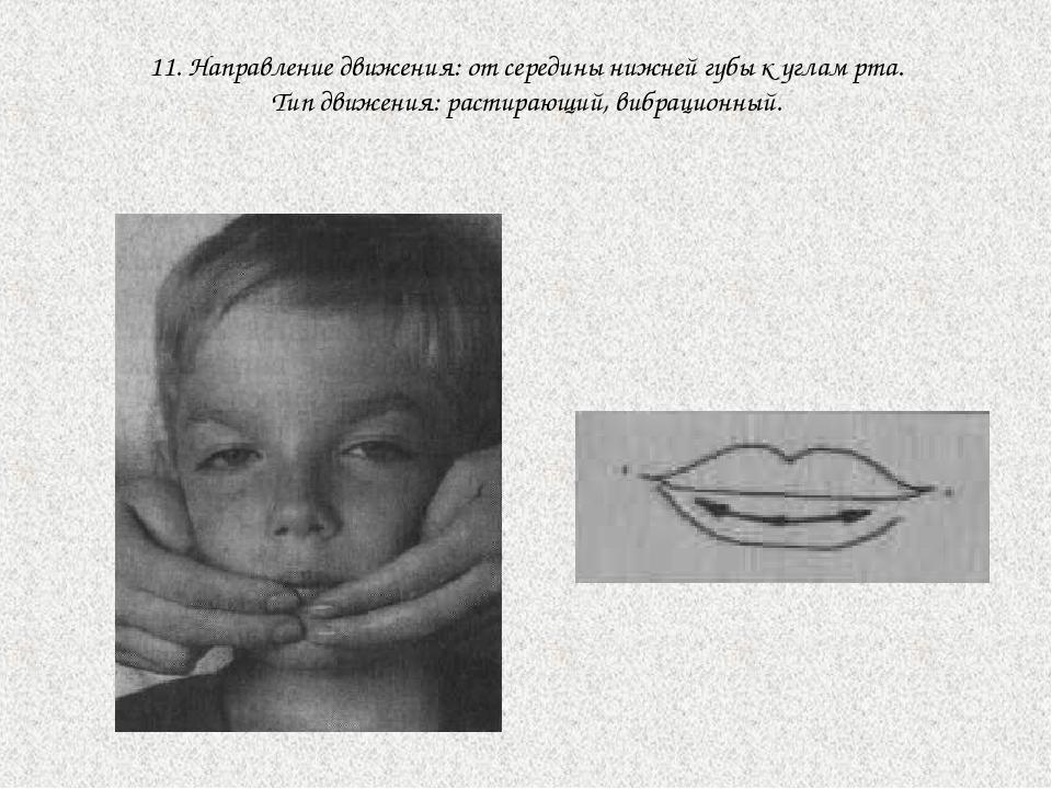 11. Направление движения: от середины нижней губы к углам рта. Тип движения:...