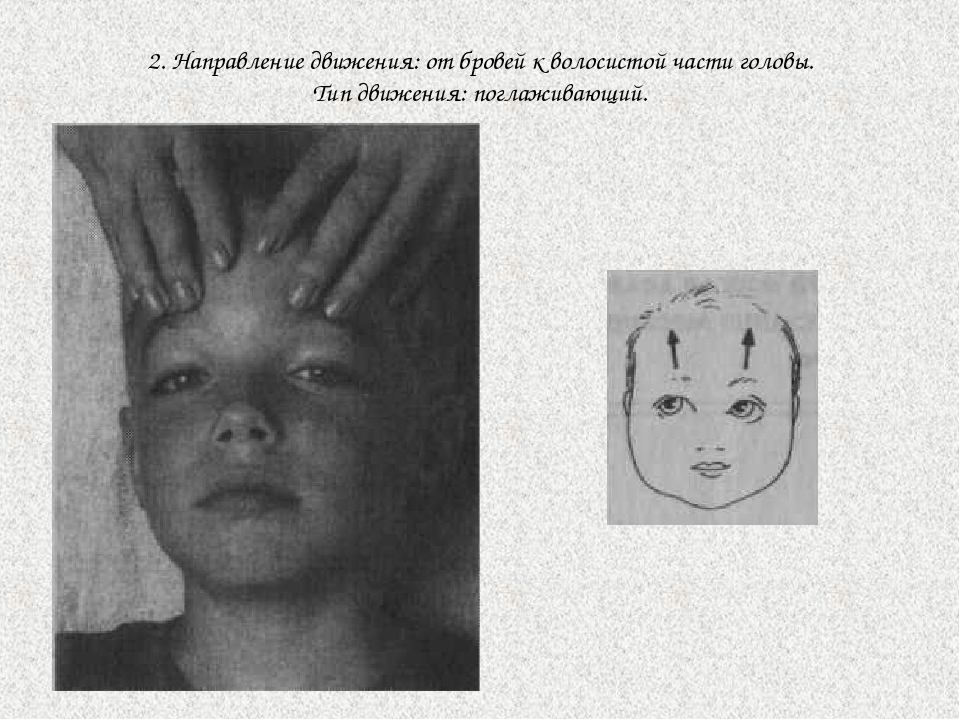 2. Направление движения: от бровей к волосистой части головы. Тип движения: п...