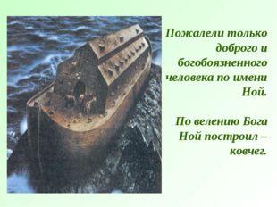 Пожалели только доброго и богобоязненного человека по имени Ной. По велению Б