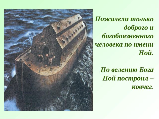 Пожалели только доброго и богобоязненного человека по имени Ной. По велению Б...