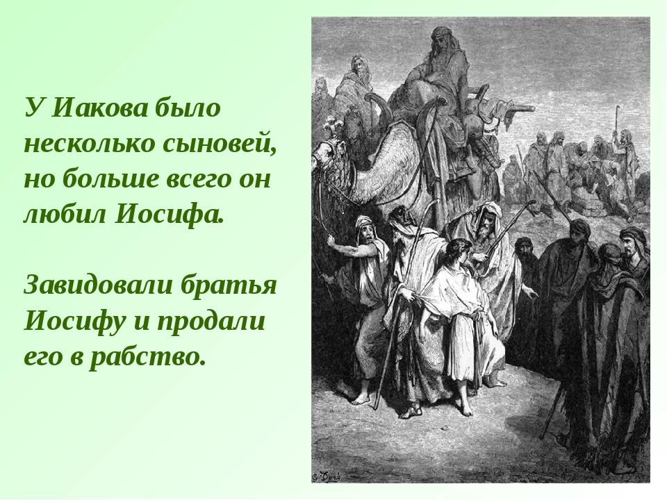 У Иакова было несколько сыновей, но больше всего он любил Иосифа. Завидовали...