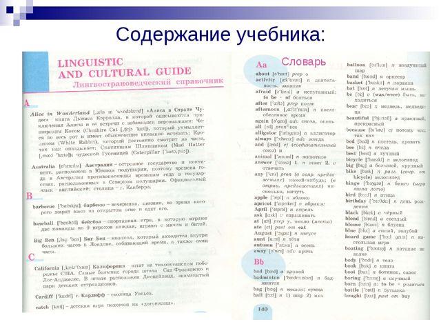 Содержание учебника: Словарь