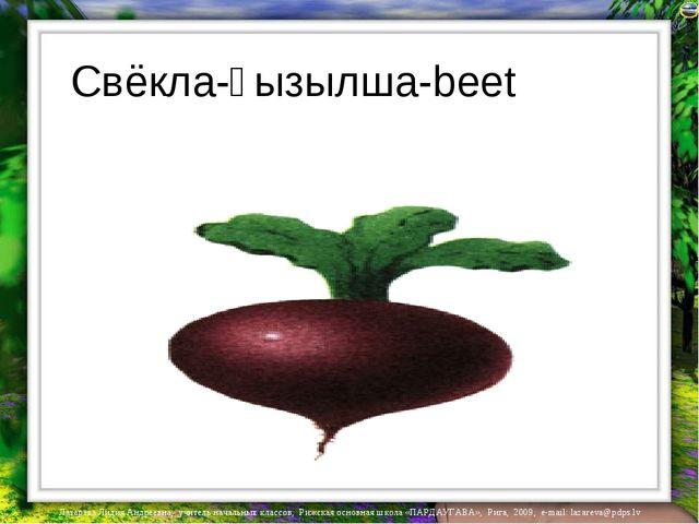 Свёкла-қызылша-beet Лазарева Лидия Андреевна, учитель начальных классов, Рижс...