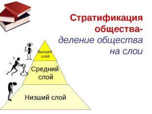 Высший слой Средний слой Низший слой Стратификация общества- деление общества