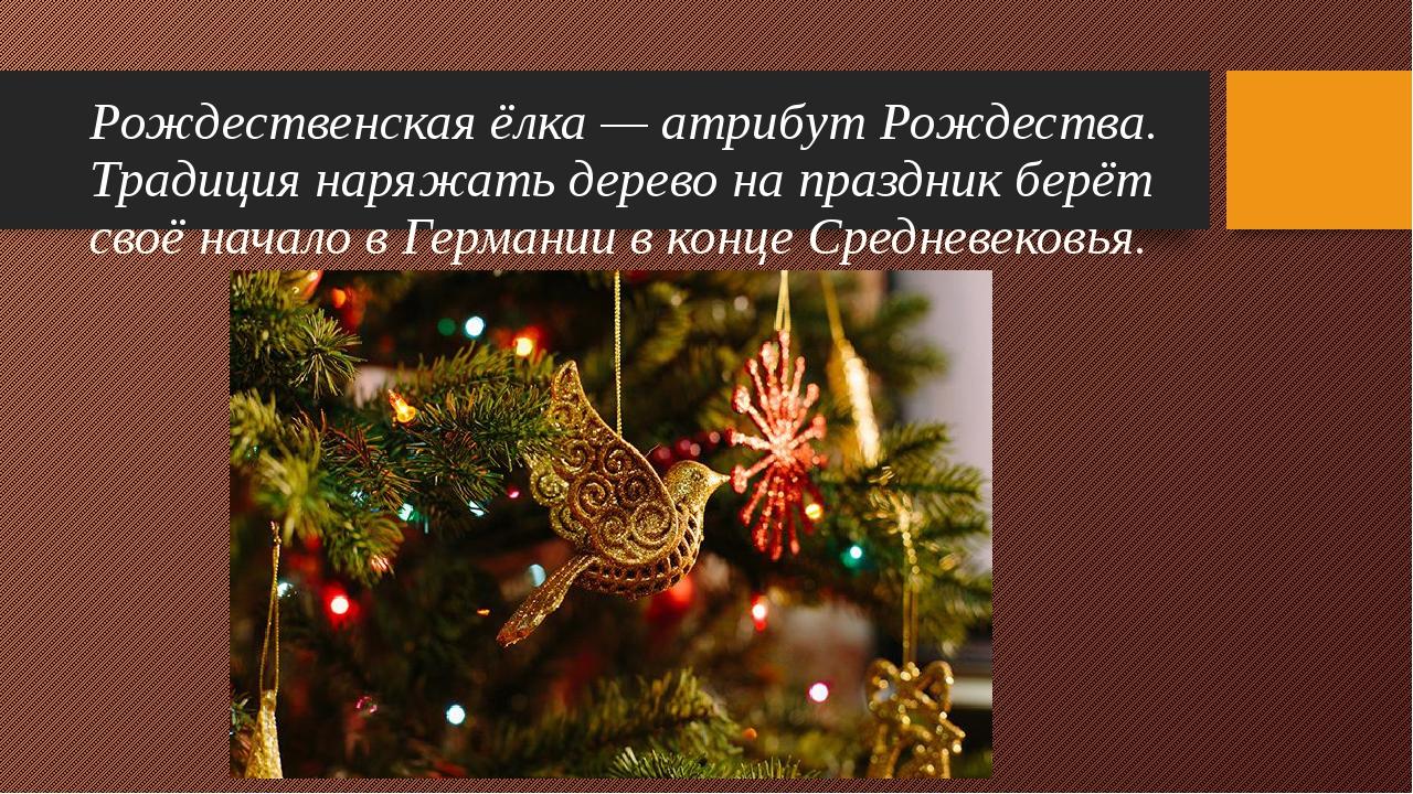 Рождественская ёлка — атрибут Рождества. Традиция наряжать дерево на праздник...