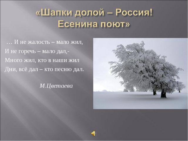 … И не жалость – мало жил, И не горечь – мало дал,- Много жил, кто в наши жи...