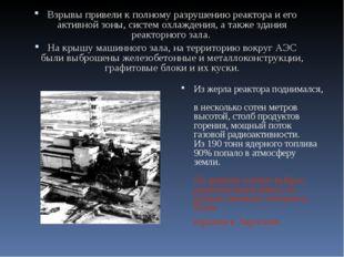 … Взрывы привели к полному разрушению реактора и его активной зоны, систем ох