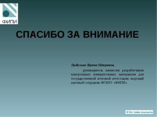 СПАСИБО ЗА ВНИМАНИЕ Цыбулько Ирина Петровна, руководитель комиссии разработчи